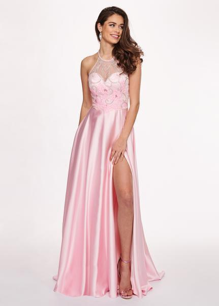Rachel Allan - 6487 Beaded Halter Satin A-line Dress from Rachel Allan