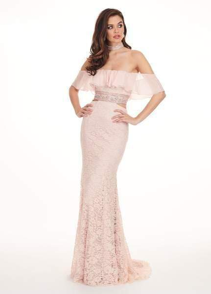 Rachel Allan - 6563 Off Shoulder Floral Crystal Cutout Lace Gown from Rachel Allan