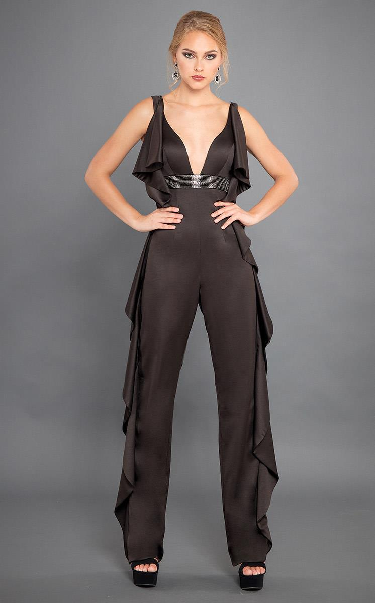 Rachel Allan Couture - 8308 Embellished Deep V-neck Jumpsuit from Rachel Allan