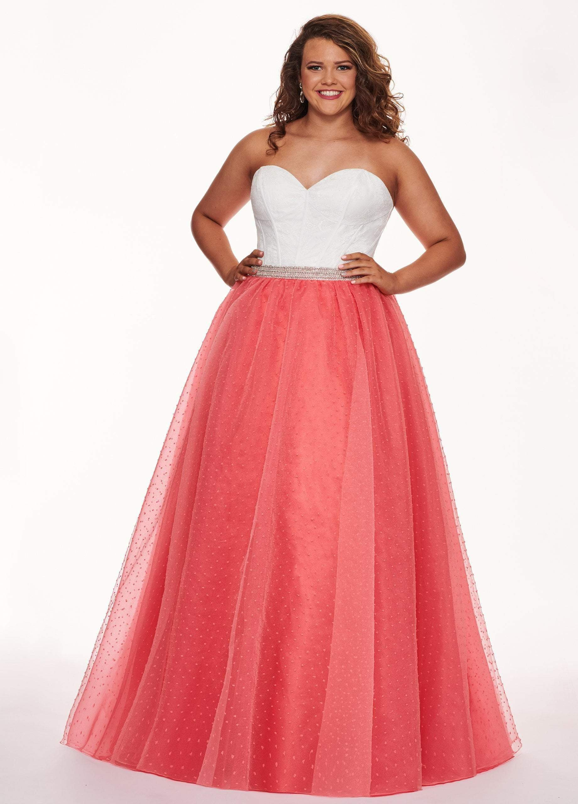 Rachel Allan Curves - 6677 Strapless Sweetheart Pleated Ballgown from Rachel Allan