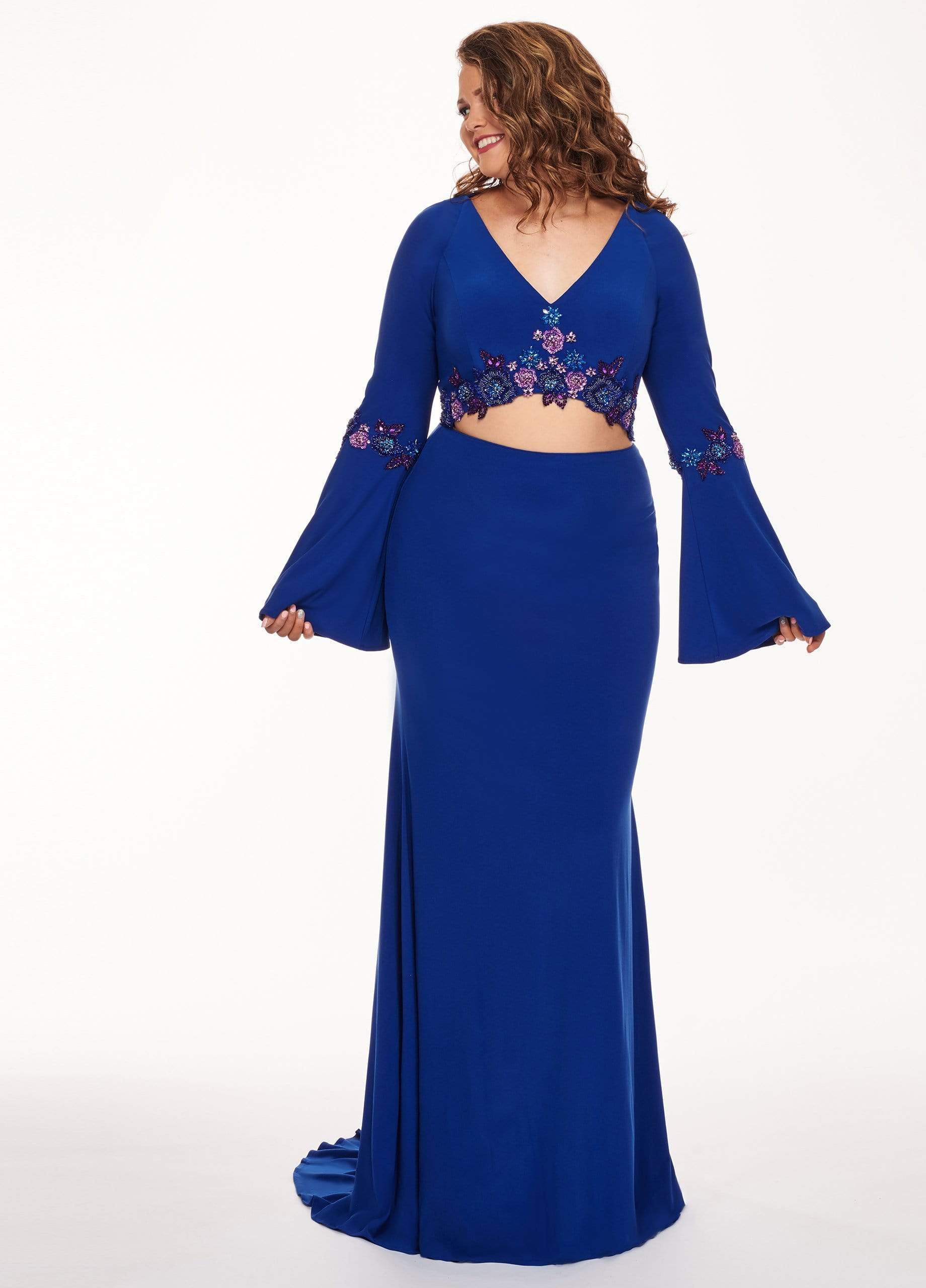 Rachel Allan Curves - 6689 Two Piece Beaded Long Sleeve Jersey Dress from Rachel Allan