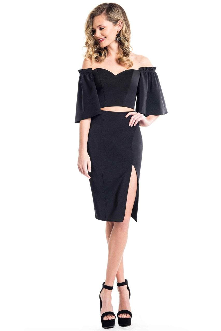 Rachel Allan LBD - L1085 Two-Piece Flared Sleeve Sheath Dress from Rachel Allan