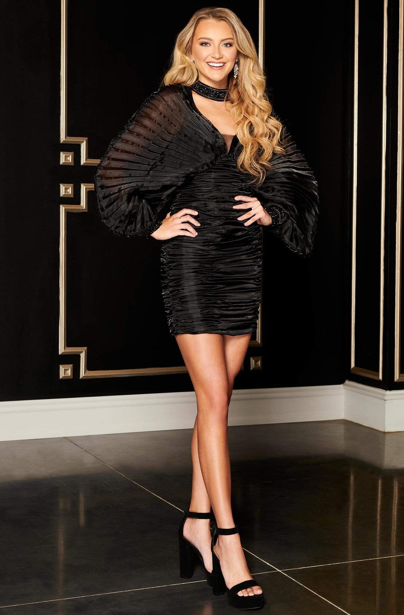 Rachel Allan LBD - L1276 Embellished Angle Sleeves Sheath Mini Dress from Rachel Allan
