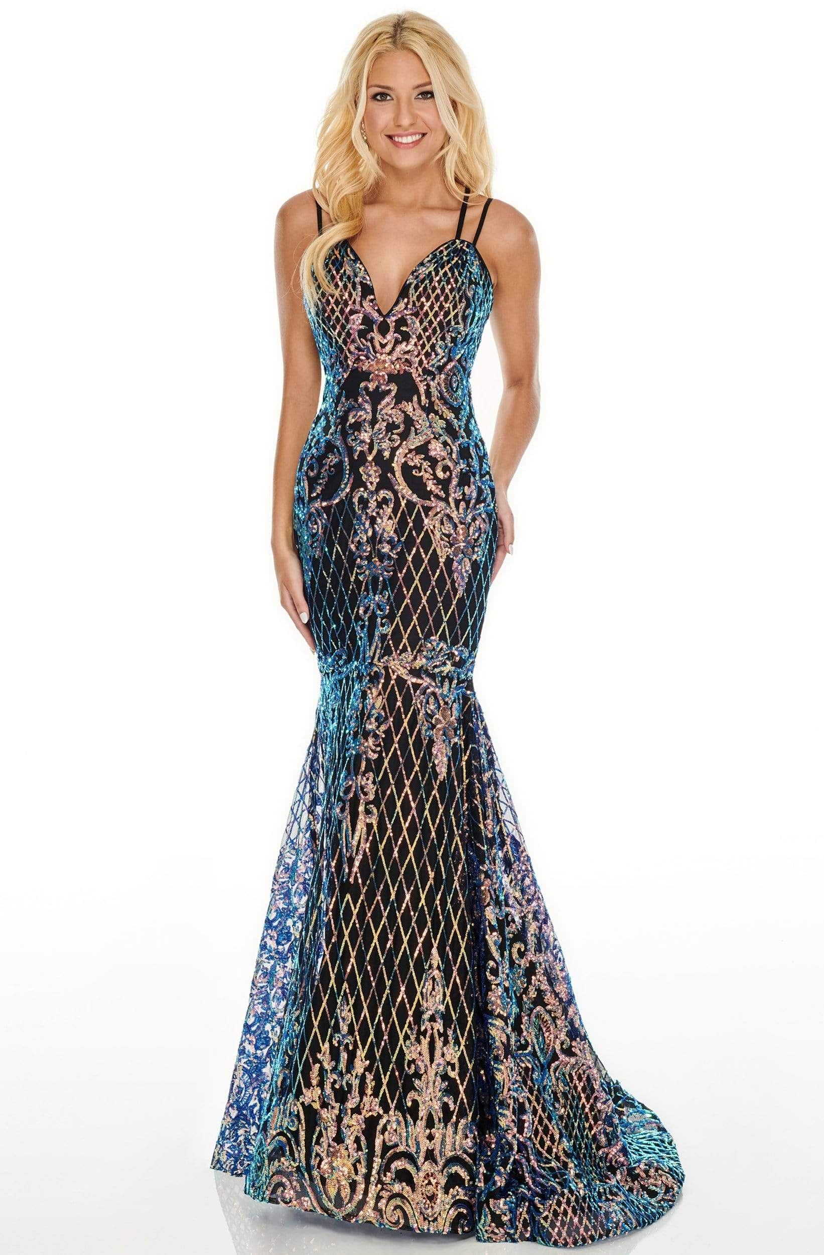 Rachel Allan Prom - 7010 Sequined V-Neck Mermaid Gown from Rachel Allan