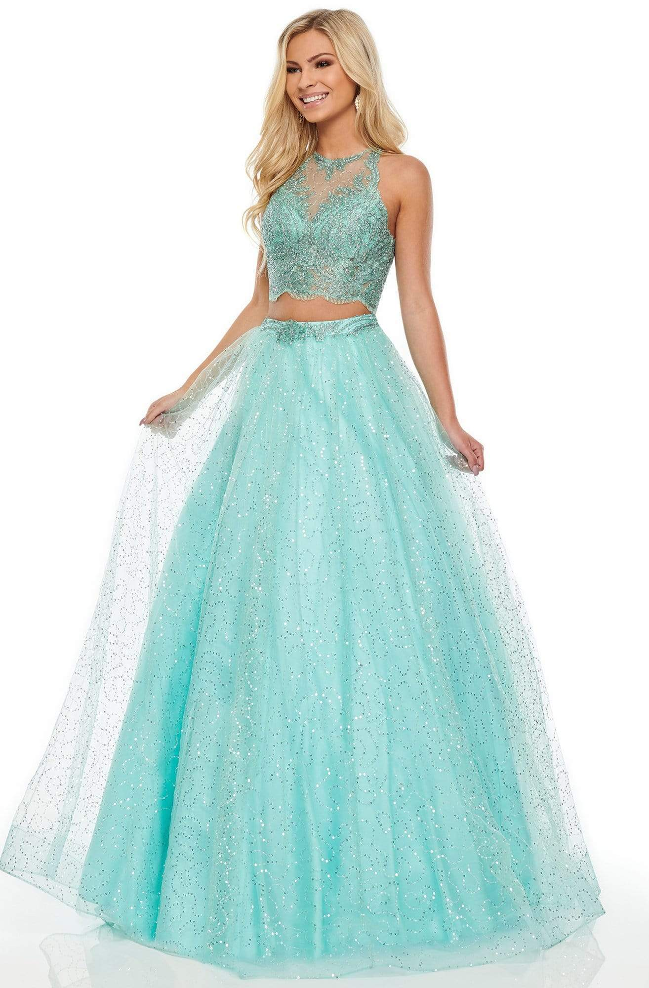 Rachel Allan Prom - 7025 Two-Piece Sequin-Ornate Tulle Gown from Rachel Allan