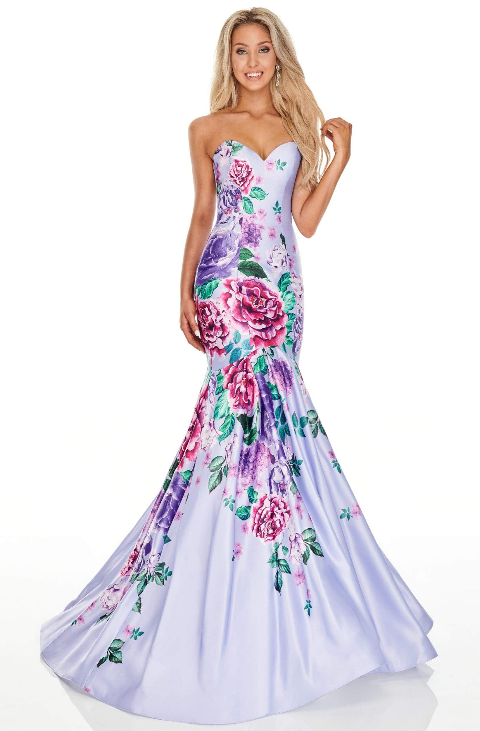 Rachel Allan Prom - 7073 Sweetheart Floral Printed Trumpet Dress from Rachel Allan