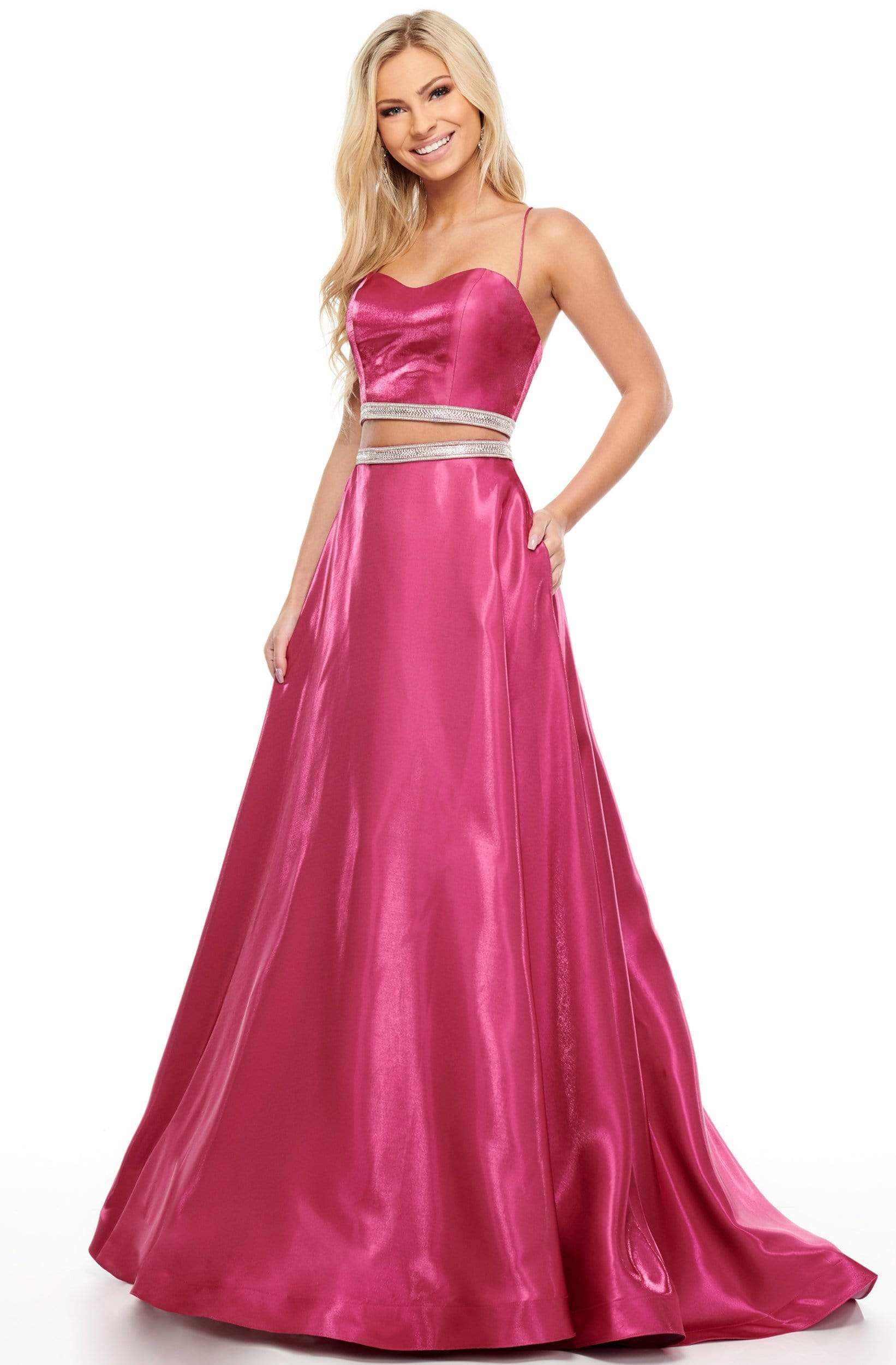 Rachel Allan Prom - 7106 Two Piece Beaded Satin A-Line Dress from Rachel Allan