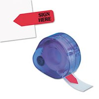 "Arrow Message Page Flags in Dispenser, ""Sign Here"", Red, 120 Flags/ Dispenser from Redi-Tag"
