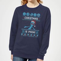 Rick and Morty Mr Meeseeks Pain Women's Christmas Sweatshirt - Navy - XL - Navy from Rick And Morty