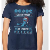 Rick and Morty Mr Meeseeks Pain Women's Christmas T-Shirt - Navy - L - Navy from Rick And Morty