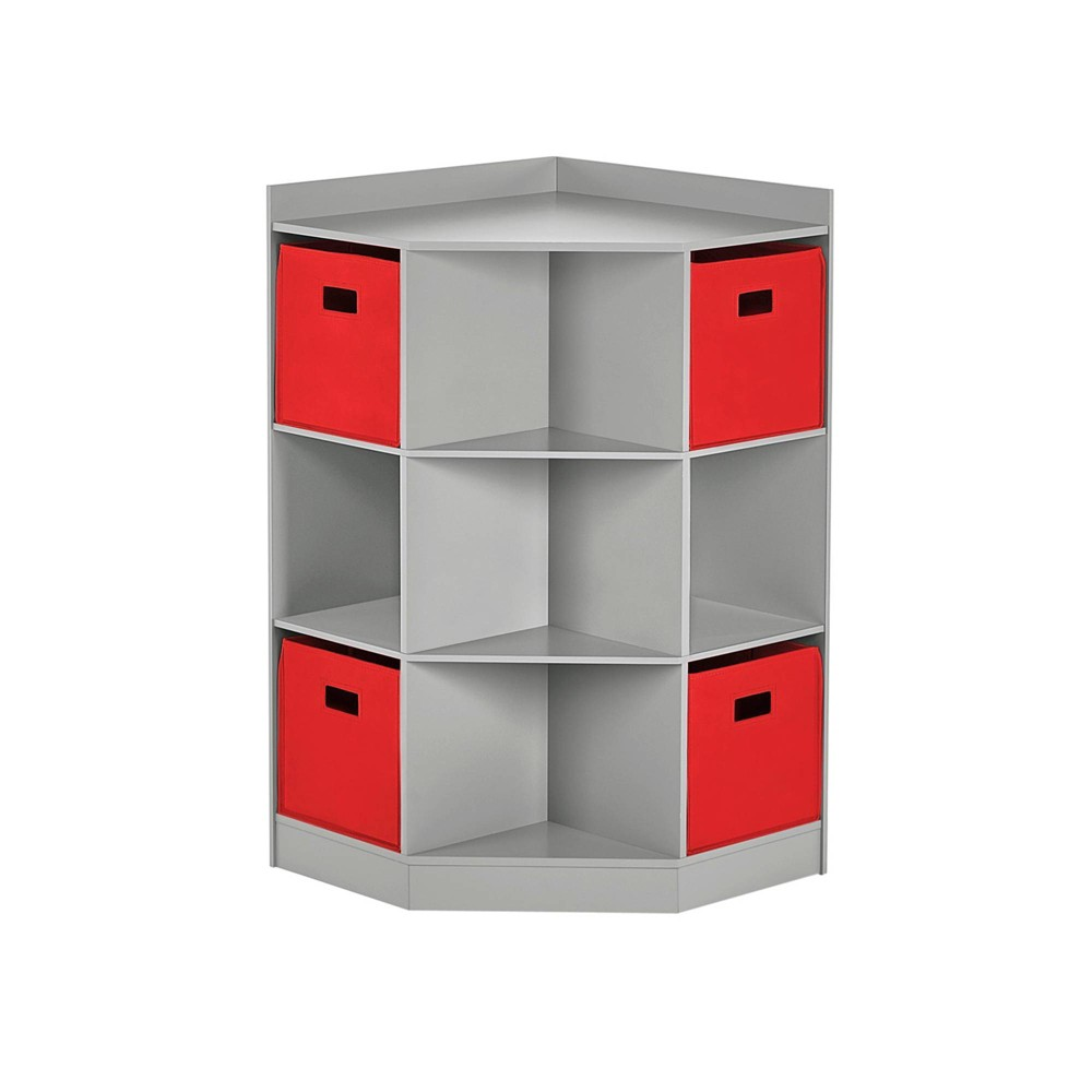 5pc Kids' Corner Cabinet Set with 4 Bins Gray/Red - RiverRidge Home from RiverRidge Home