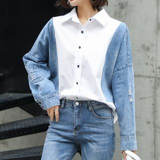 Denim Panel Shirt from Romantica