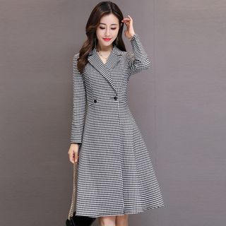 Double-Button Gingham Coatdress from Romantica
