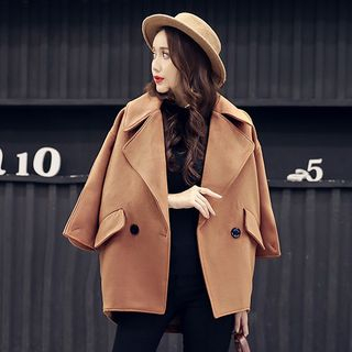 Double-Button Plain Woolen Coat from Romantica
