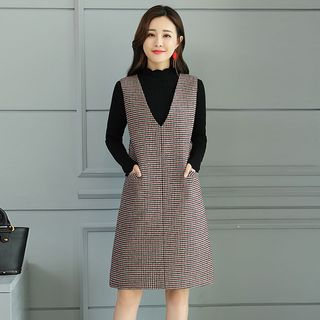 Houndstooth A-Line Pinafore Dress from Romantica