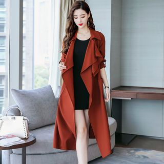 Long Open-Front Tie-Waist Trench Coat from Romantica