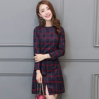 Long-Sleeve Check Slit-Front Dress from Romantica