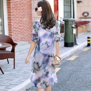 Long-Sleeve Flower Chiffon Long Shirt from Romantica