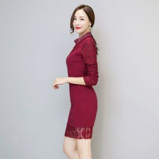 Long-Sleeve Lace-Panel Dress from Romantica