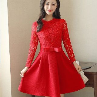 Long-Sleeve Lace Panel Dress from Romantica
