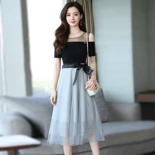 Mock Two-Piece Color-Block Dress from Romantica