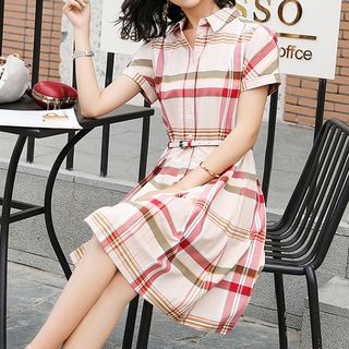 Plaid Short-Sleeve A-Line Shirtdress from Romantica