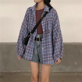 Puff-Sleeve Plaid Shirt from Romantica