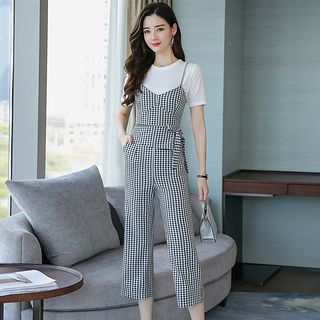 Set: Check Panel Top + Wide-Leg Pants from Romantica