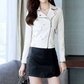 Set: Faux Leather Zip Biker Jacket + Mini Skort from Romantica