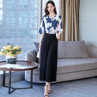 Set: Floral Elbow-Sleeve Blouse + Wide Leg Pants from Romantica