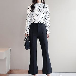 Set: Long-Sleeve Dotted Blouse + Boot-Cut Dress Pants from Romantica