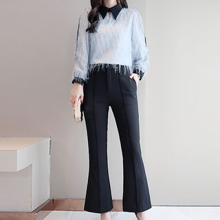 Set: Long-Sleeve Fringed Blouse + Boot-Cut Pants from Romantica