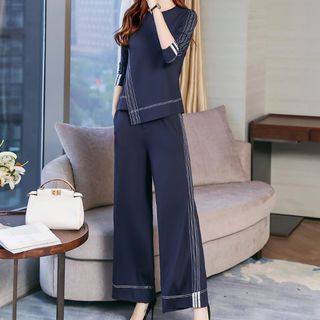 Set: Long-Sleeve Top + Wide Leg Pants from Romantica