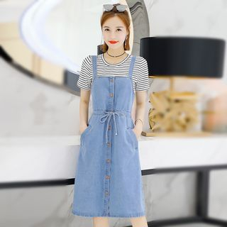 Set: Striped T-Shirt + Denim Jumper Dress from Romantica