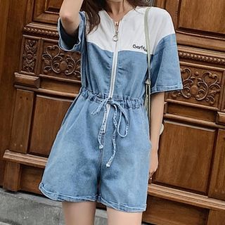 Short-Sleeve Denim Playsuit from Romantica