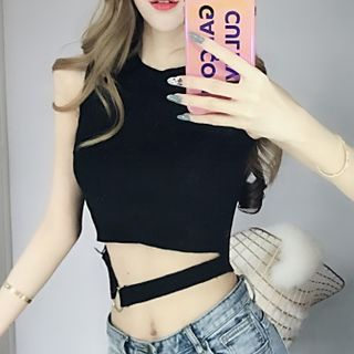 Sleeveless Cutout Cropped Top from Romantica