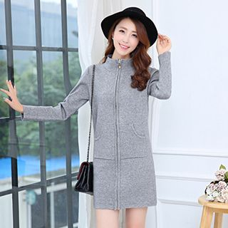 Stand-Collar Long Cardigan from Romantica