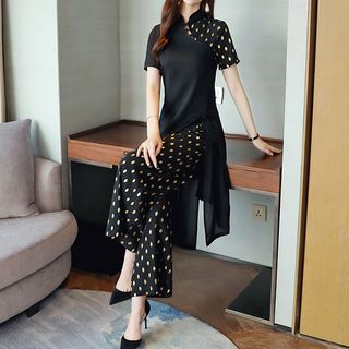 Traditional Chinese Set: Short-Sleeve Top + Wide-Leg Pants from Romantica