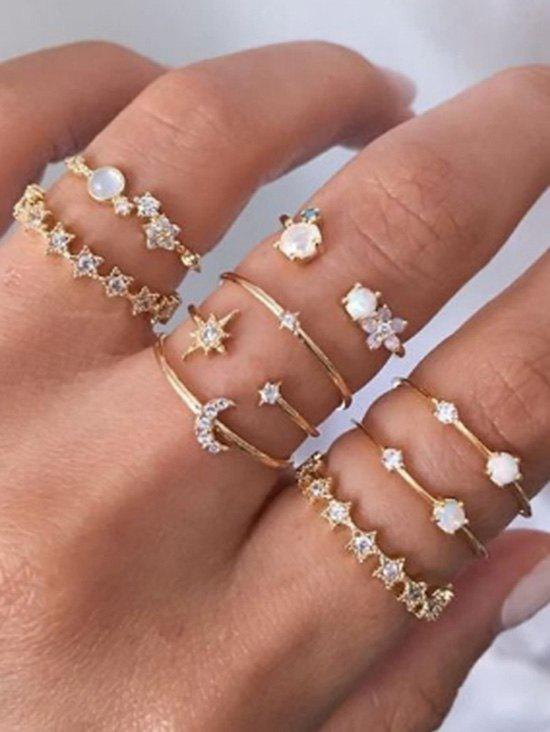 9Pcs Stars Crescent Rhinestone Rings Set from Rosegal