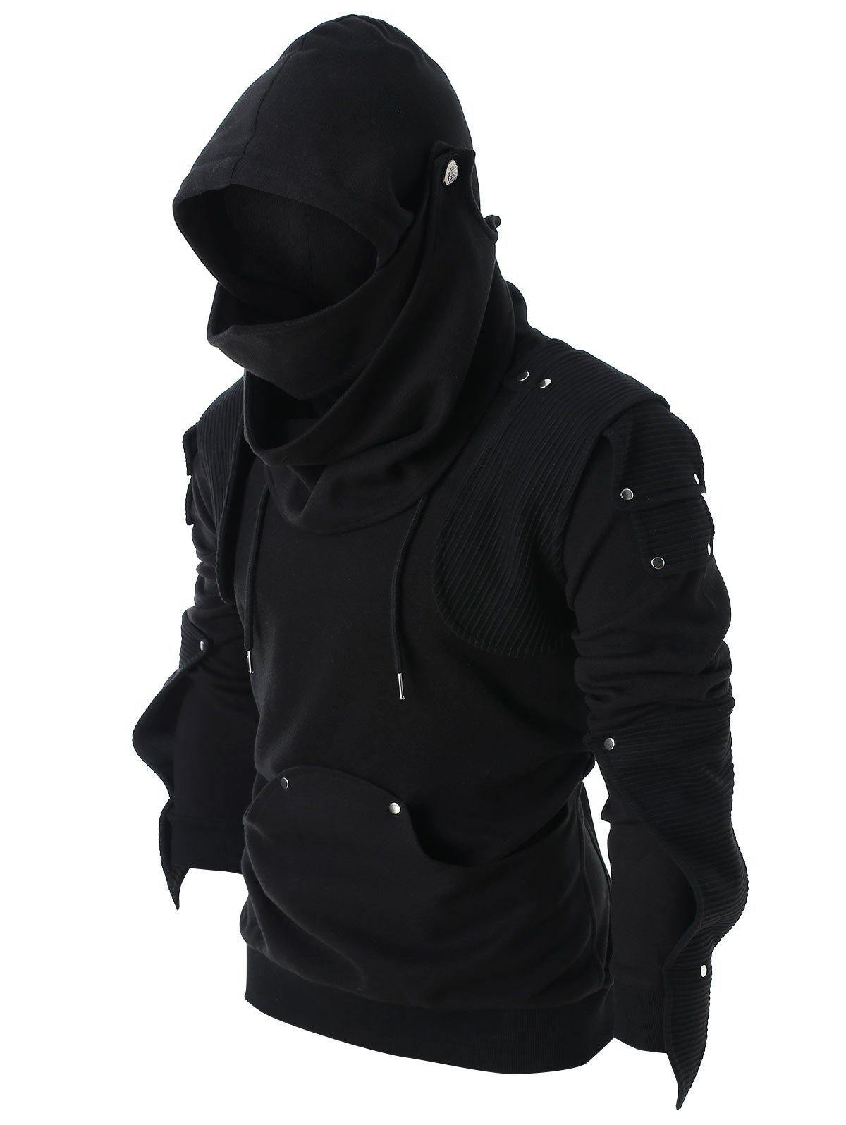 Rivet Long Sleeve Drawstring Hoodie from Rosegal