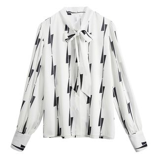 Long-Sleeve Patterned Chiffon Blouse from SOUTH GIRL