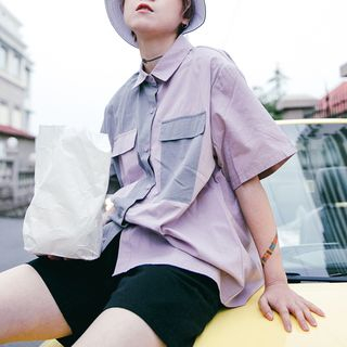 Color Block Short-Sleeve Shirt from STILL YOU