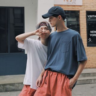 Couple-Matching Elbow-Sleeve Pocketed T-Shirt from STILL YOU