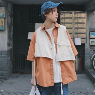 Mock Two-Piece Elbow-Sleeve Shirt from STILL YOU
