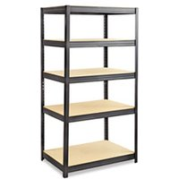 Boltless Steel/Particleboard Shelving, Five-Shelf, 36w x 24d x 72h, Black from Safco
