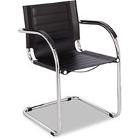 Flaunt Series Guest Chair, Black Leather/Chrome from Safco