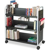 Scoot Book Cart, Six-Shelf, 41-1/4w x 17-3/4d x 41-1/4h, Black from Safco