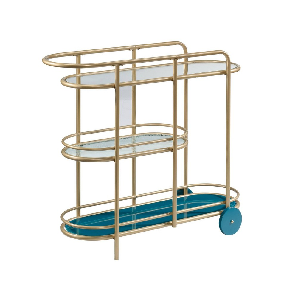 Coral Cape Bar Cart with Metal and Glass Satin Gold - Sauder from Sauder