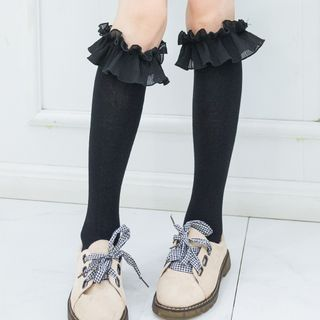 Frill Trim Knee-High Socks from Sayaka
