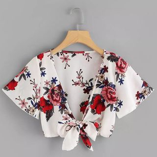 Flower Print Cropped Lace-Up Jacket from Scentwood